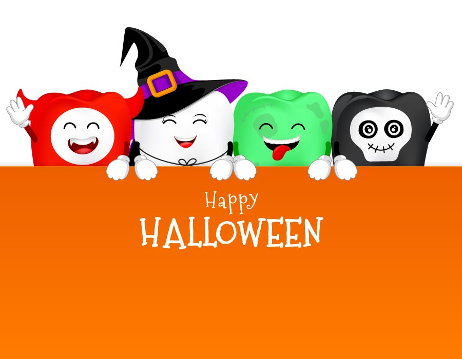 Playful teeth in halloween costumes with happy halloween poster.